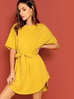 Batwing Sleeve Solid Curved Hem Dress