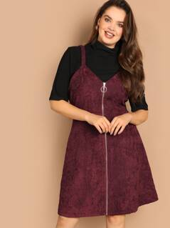 Plus O-ring Zip Front Corduroy Cami Dress