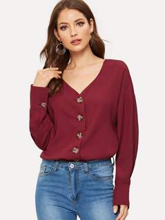 Button Up V Neck Solid Shirt