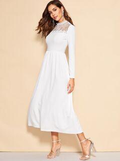 Lace Insert Zip Back Fit & Flare Dress