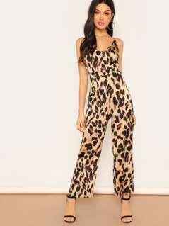 Leopard Print Flare Cami Jumpsuit