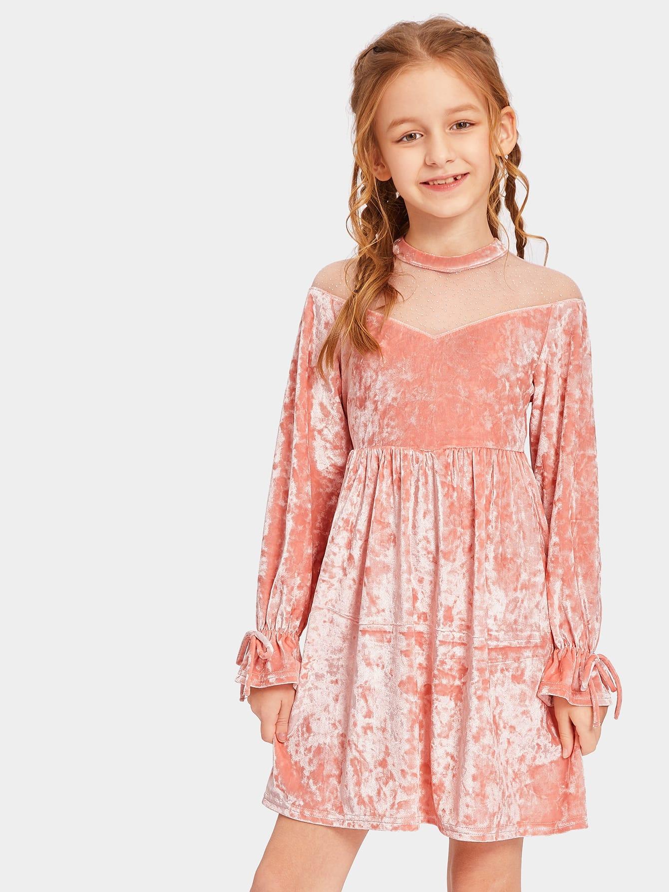 Купить Бархатное платье шеврона на молнии сзади со сетчатыми плечами для девочек, Sashab, SheIn