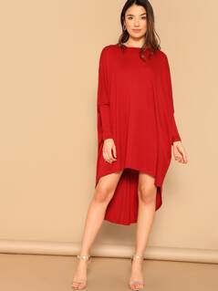 Batwing Sleeve Curved Dip Hem Dress