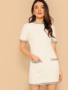 Zip Back Contrast Trim Tweed Pencil Dress