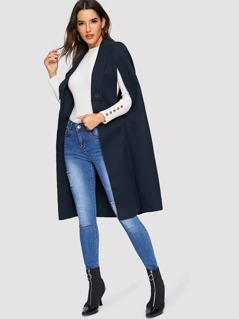 Button Detail Solid Longline Cape Coat