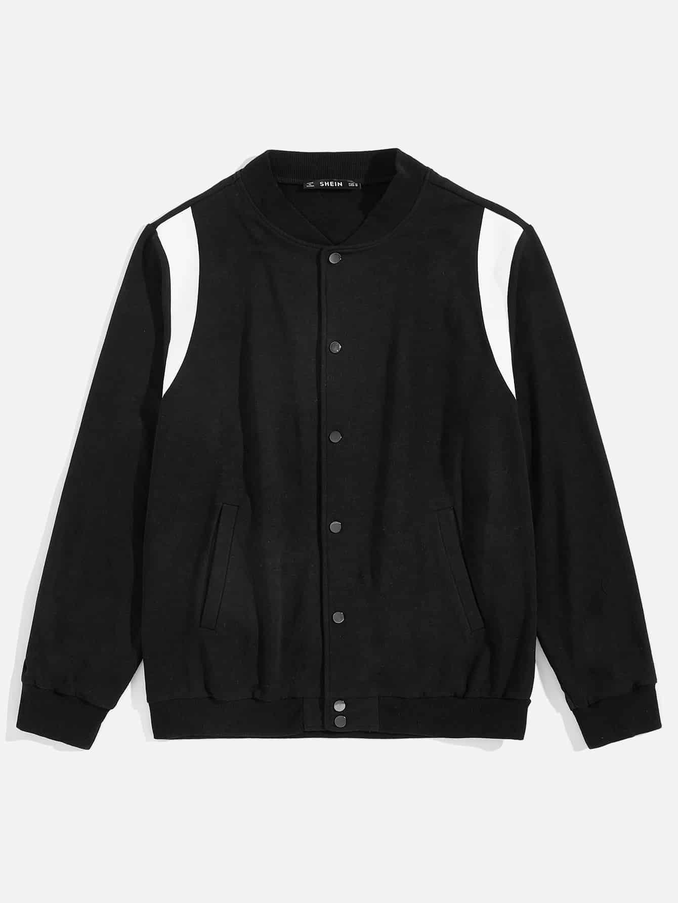 Фото - Мужская контрастная куртка с пуговицами от SheIn черного цвета