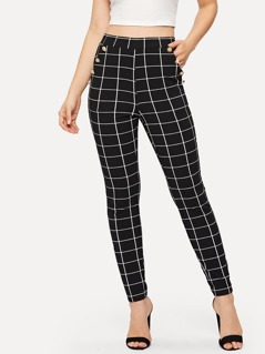 Double Breasted Grid Skinny Pants