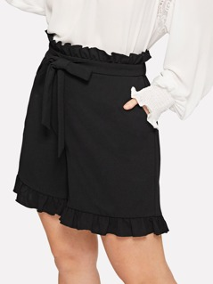 Plus Ruffle Waist Belted Pocket Shorts