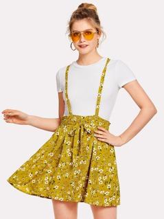 Flower Print Self Tie Waist Crisscross Pinafore Dress