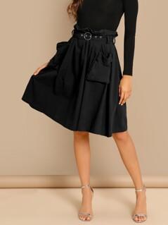 O-ring Grommet Eyelet Belted Pocket Patched Skirt