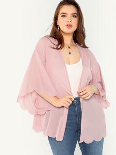 Plus Scallop Trim Solid Kimono