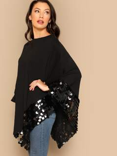 Contrast Sequin Asymmetrical Hem Solid Coat