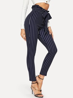Paperbag Waist Vertical Striped Belted Pants