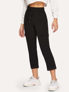 Drawstring Waist Pocket Side Cuffed Crop Pants