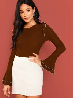 Ruffle Detail Bell Sleeve Ribbed Top