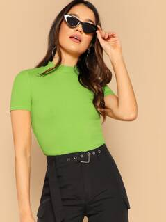 Mock Neck Fitted Neon Green Top