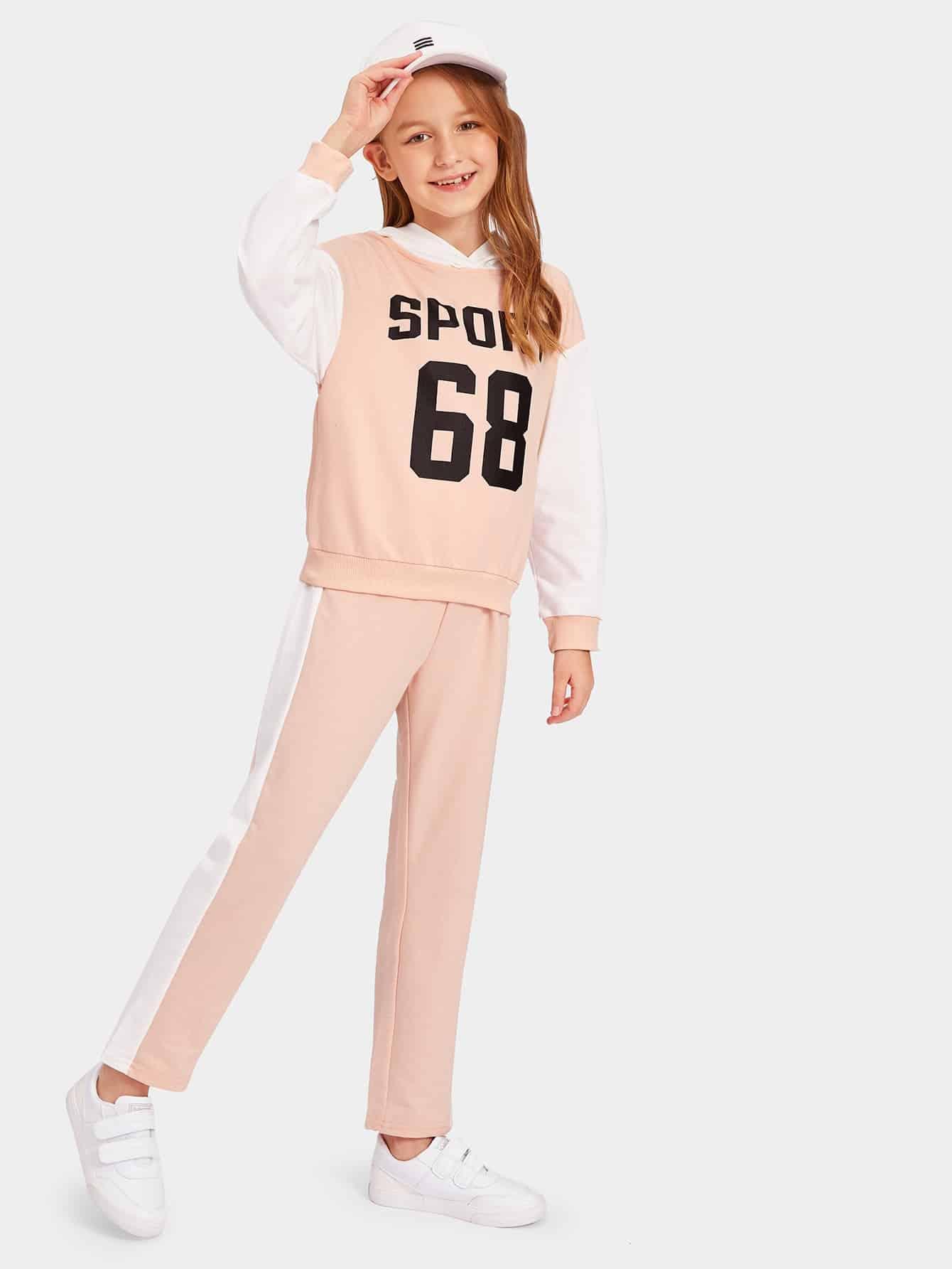 Купить Контрастная толстовка для девочек и спортивные брюки комплект, Sashab, SheIn
