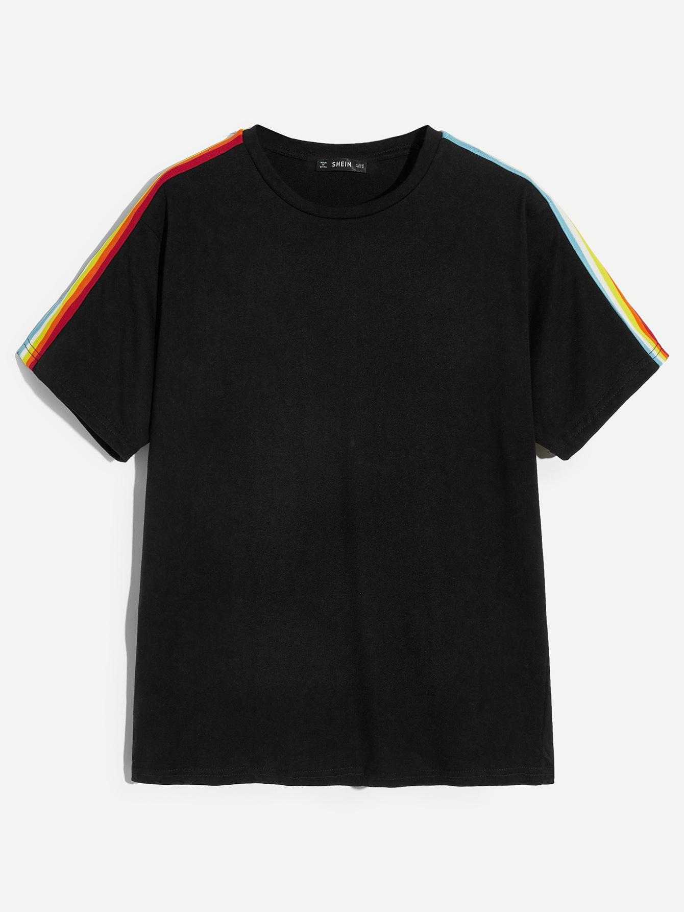 Купить Мужская однотонная футболка с цветочной лентой, null, SheIn