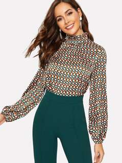Keyhole Back Frilled Neck Colorblock Geo Print Top