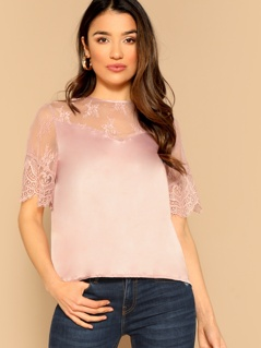 Lace Mesh Yoke Satin Top