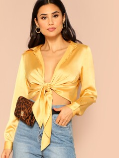 Knot Front Satin Blouse