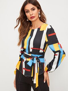 Mixed Print Curved Hem Belted Top