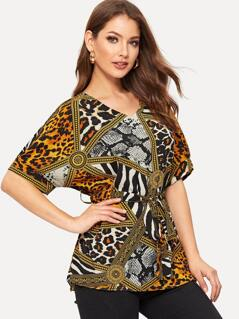Animal Print Belted Top