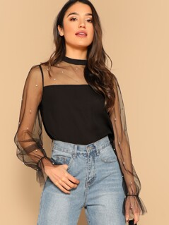 Pearl Beaded Mesh Yoke Blouse