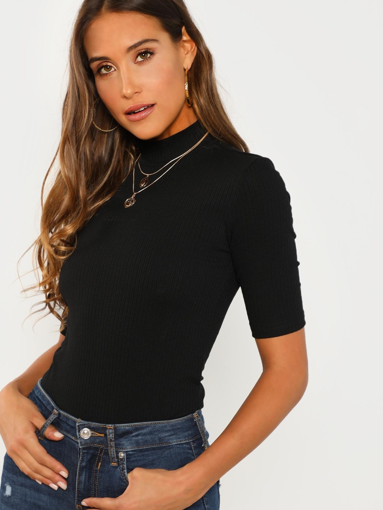 Купить Приталенная футболка со стоячим воротником, Anna Herrin, SheIn