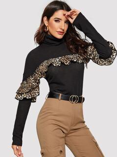 High Neck Leopard Ruffle Rib-knit Tee