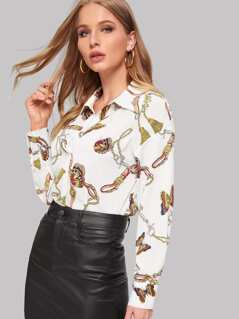 Butterfly and Chain Print Shirt