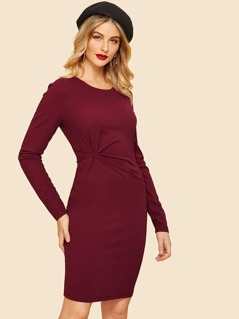 40s Twist Front Solid Bodycon Dress