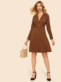 70s Notch Collar O-ring Belted Dress