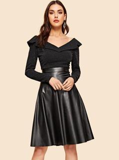 40s Foldover Front Glitter Bodice PU Dress