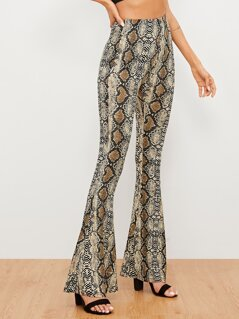 Snake Pattern Flare Leg Pants