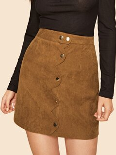 80s Scallop Edge Button Front Corduroy Skirt