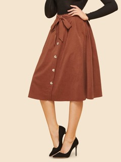 Knot Front Button Up Skirt
