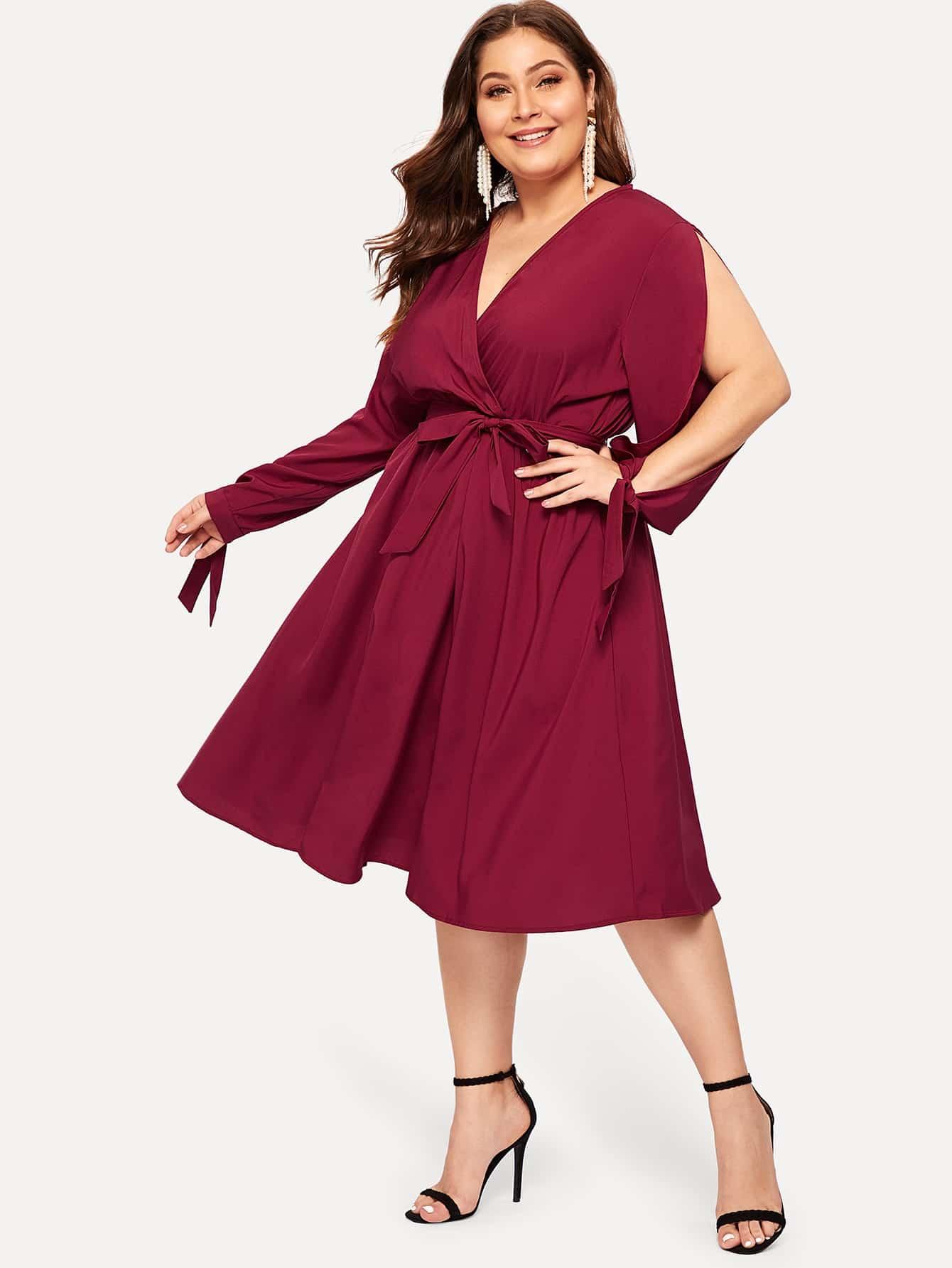Купить Большое простое платье с V-образным вырезом, Carol, SheIn