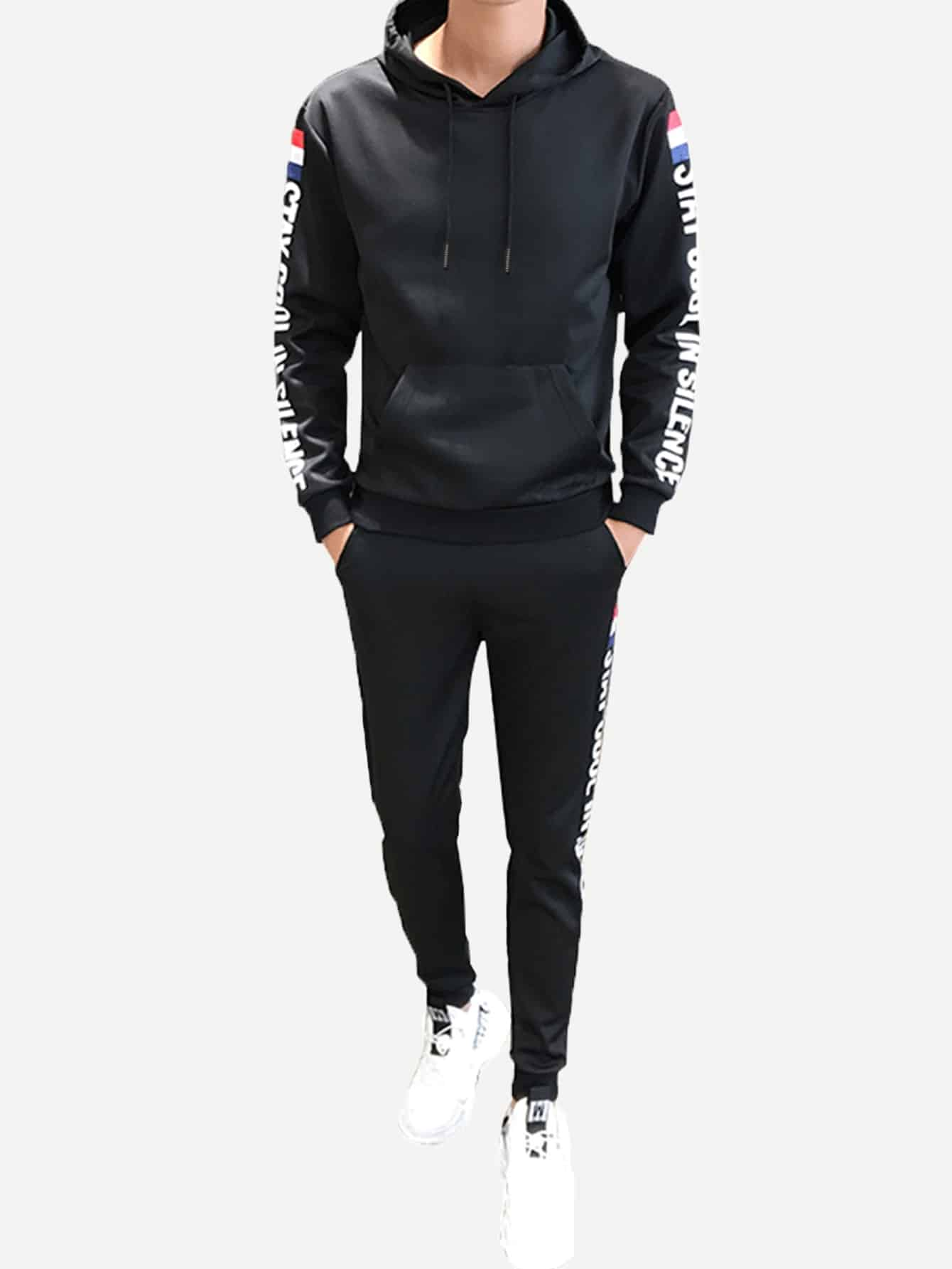 Фото - Мужские толстовка с текстовым принтом и брюки от SheIn черного цвета