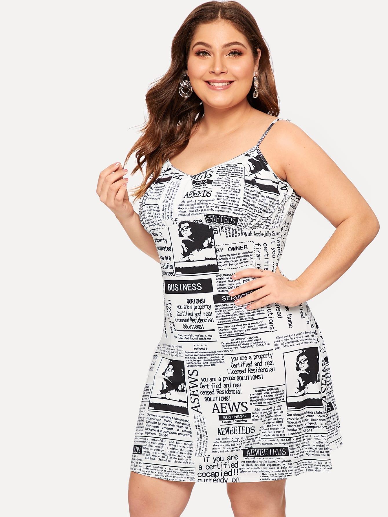 Размера плюс платье на бретелях с графическим принтом