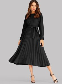 Solid Keyhole Back Belted Pleated Dress
