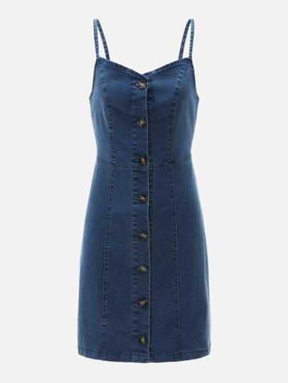 b58af986972 Single Breasted Spaghetti Strap Denim Dress