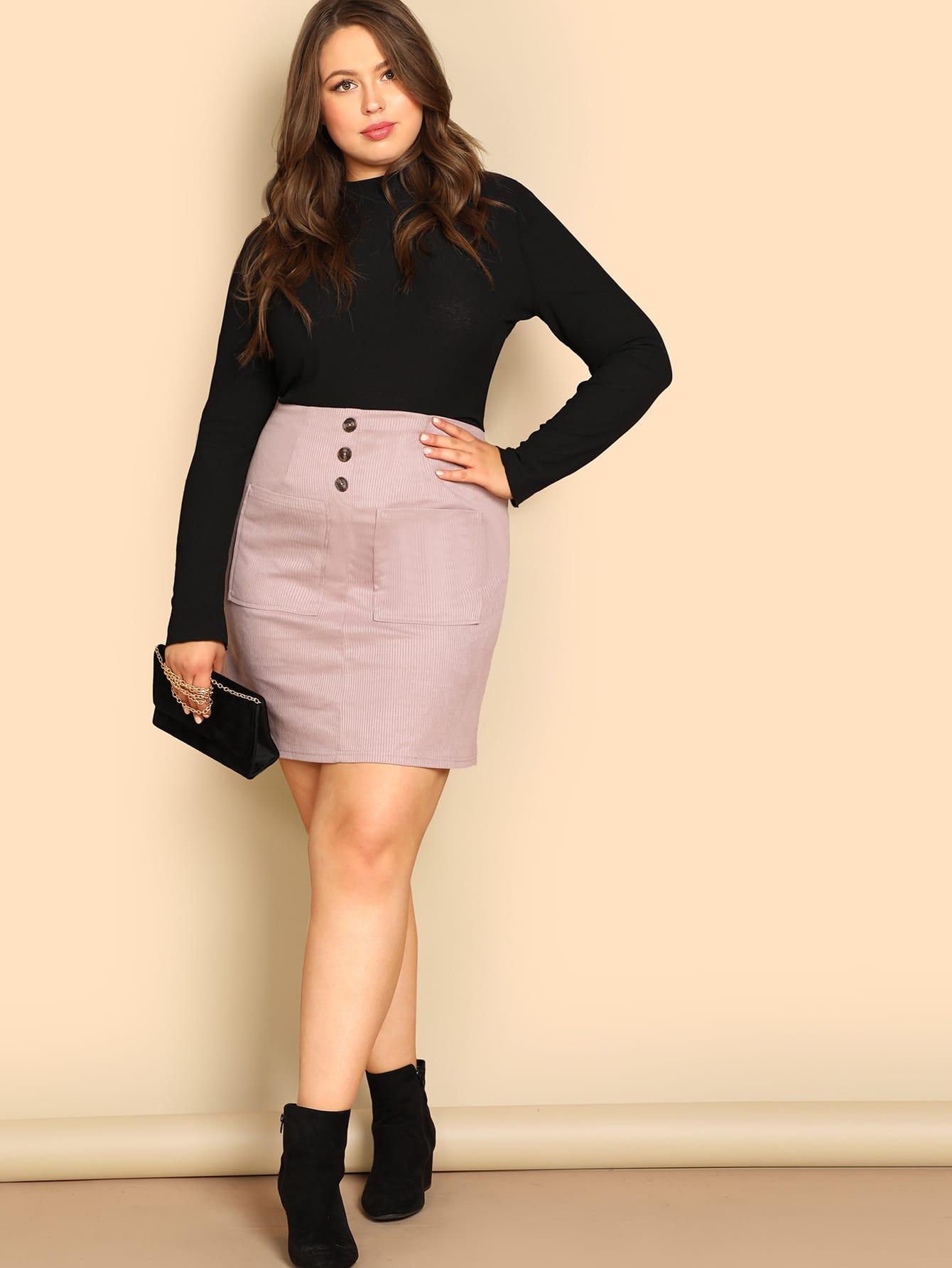 Купить Вельветовая юбка с пуговицами и карманом размера плюс, Bailey Carr, SheIn
