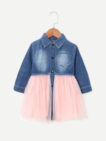 8f76ed2332655 فستان قميص جينز شبكي متباين للبنات الصغار