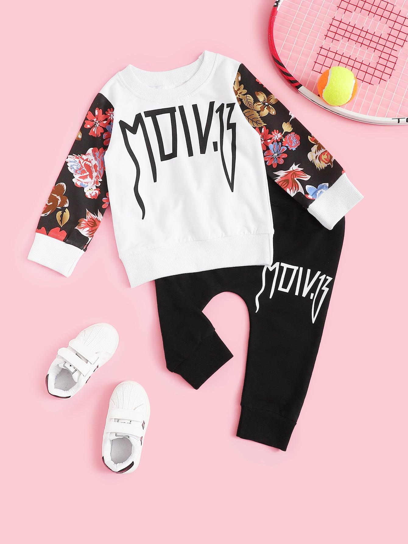 Купить Топ с принтом текстовым и цветочным принтом и брюки с текстовым принтом для маленьких девочек, null, SheIn