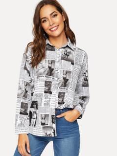 Drop Shoulder Newspaper Print Shirt