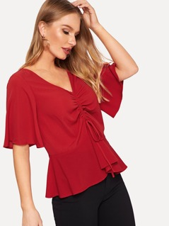 Flutter Sleeve Drawstring Front Top