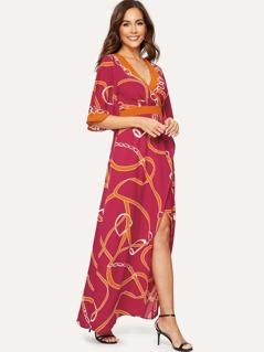 Chain Print Flutter Sleeve Overlap Split Front Dress