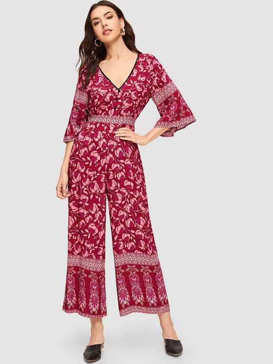 9e6ab5dbd7a Button Front V-Neck Bell Sleeve Floral Jumpsuit