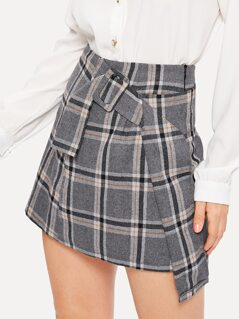 Buckle Belted Asymmetrical Plaid Skirt